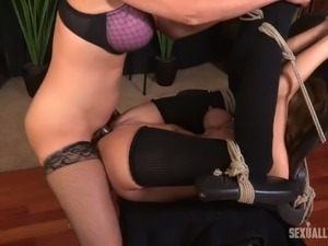 Sweet blonde sexy white lady bound to the railing and facefucked