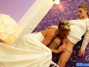 Euro brides cum covered in gloryhole trio