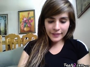 Teen masturbates front the webcam