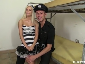 Candee Licious lets this police officer get a nice view of her tits