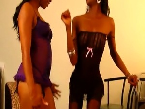Ebony Lesbians Dariel And Imani Play With Big Dildo