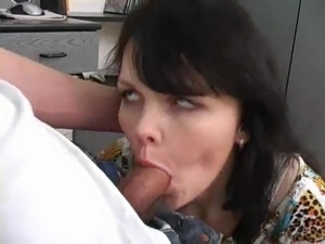 Horny Russian in black high heels fucked by young cock