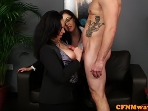 Busty cfnm femdom cumsprayed on boobs