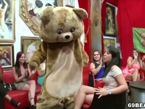 Crazy ladies suck male stripper dick