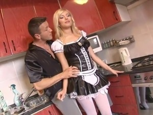 Stunning blonde maid in stockings gets hard thrusting in bed