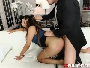 Cute brunette secretary fucked really hard and rough