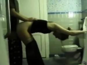 Amateur teen sex in public toilet