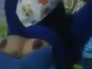 arab slut tied up, tits exposed. short clip