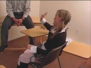 Salacious student Avery gets her ass beaten hard in a classroom