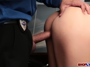 Sexy Arab shoplifter Audrey banged by the cop