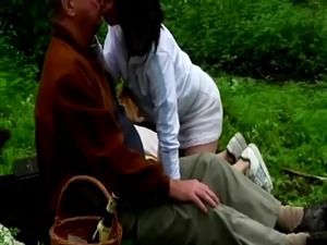 Nice outdoor sex with young brunette and horny grandpa