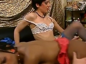 Interracial threesome and double penetration with hot African slut
