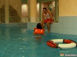 Saucy teen gets laid with swimming instructor in the pool