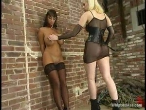 Lewd blonde Cowgirl whips gorgeous brunette Summer Cummings in BDSM vid
