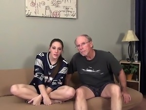 Hot brunette and old man fuck hardcore