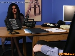 British cfnm femdom cocksucking sub in office