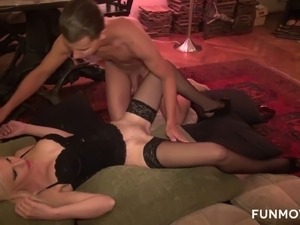 Long straight haired blondie gets teased with toy and fucked by studs
