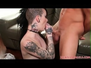 Stunning goth babe throatfucked before anal