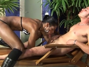 Kinky black tranny with small tits and a tight beautiful ass enjoying an...