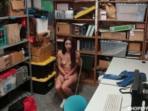 Perverted cop mouthfucks guilty bitch Lilly Hall at the police station