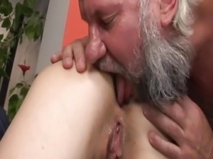 Old guy fucks younger girl and licks her ass!