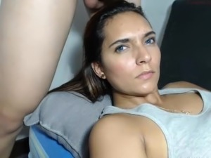 Latina beauty sucks, lactates, gets throatfucked, big facial