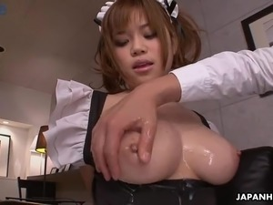 Just more than gorgeous Japanese maid Nene Azami gets fucked doggy