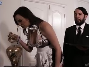 Butthole of huge breasted MILFie maid Dana DeArmond is nailed really rough