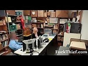 Prevention Officer Cuffs &amp_ Fucks Blonde Thief - FuckThief.com