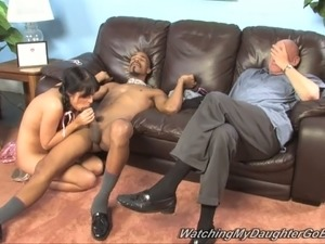 Freaky uncle watches his slim cutie pleasing black freak