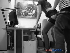 Sexy secretary and some horny dude having a quick sex in the office
