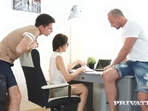 Two naughty dudes help too busy Michelle Carr to relax during 3some