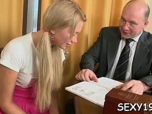 Vicious doggy style pounding from horny aged teacher