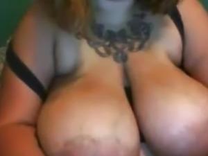 Huge saggy tits on ugly BBW gal