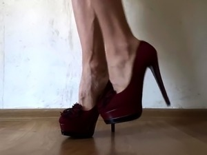 Foot fetishist's delight - perfect feet on stiletto heels