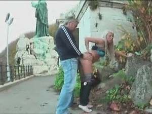 Blonde amateur GF outdoor suck and fuck with facial