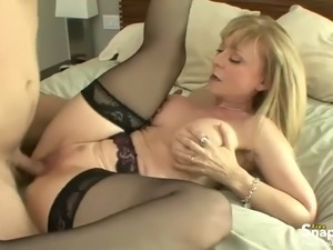 hot blonde mature rides horny boy