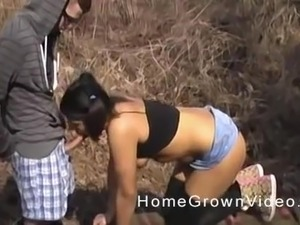 Cutie with pigtails Kandi enjoying awesome outdoor fuck with her dude