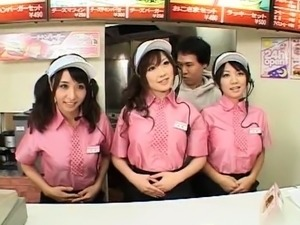 Delightful Japanese babes in uniform get fucked in public