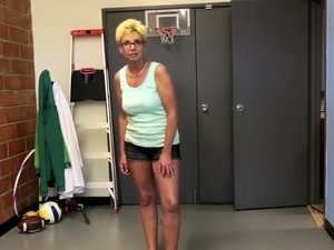 Busty mature strips down before tugging POV