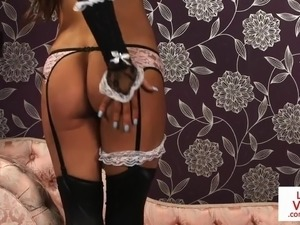 Lingeried UK maid instructs sub to jerkoff
