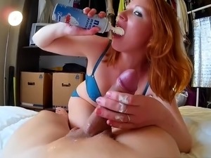 Sultry redhead milf gives a hot blowjob and gets fucked deep
