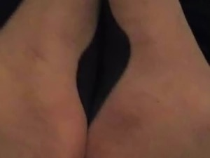 Cock cumming on Nylon Feet