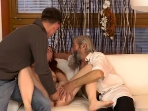 Old man face sitting first time Unexpected experience with a