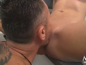 Busty raven haired housewife let her guy eat her pussy on kitchen counter