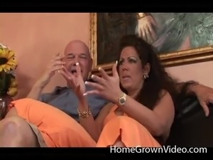 Fat old man dick dumps a creampie in her slutty pussy