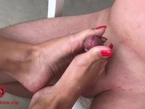 Footjob and cum on feet