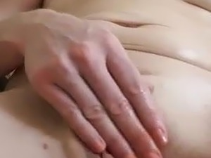 Rubbing her pussy and playing with her clit ring