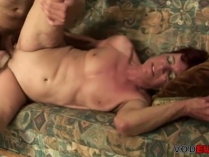 Redhead grandma craving for young cock