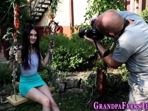 Lovely teen bangs grandpa